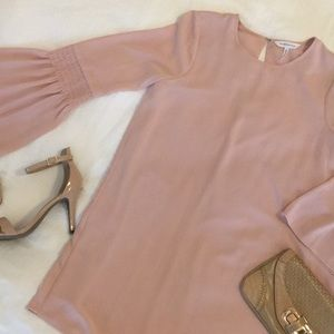 BCBGeneration Smocked Sleeve Rose Shift Dress